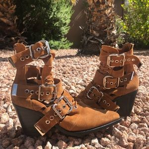 Jeffery Campbell Tan Caceres Buckle Booties
